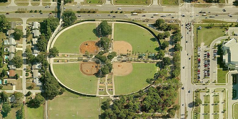Overzicht van het Eddie C. Moore Softball Complex in Clearwater (Florida).
