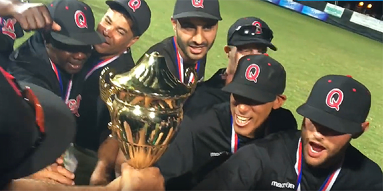 Vreugde bij de spelers van Quick na het winnen van de ESF Cup in 2016.